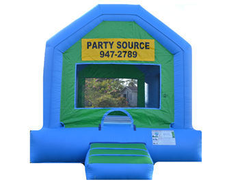 Blue and Green Bounce House